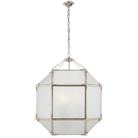 Visual Comfort SK5009PN-FG Suzanne Kasler Morris 3 Light 19 inch Polished Nickel Foyer Pendant Ceiling Light in Frosted Glass