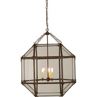 Suzanne Kasler Morris 3 Light 23 inch Antique Zinc Foyer Pendant Ceiling Light in Clear Glass