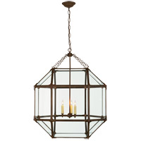 Visual Comfort SK5010AZ-CG Suzanne Kasler Morris 3 Light 23 inch Antique Zinc Foyer Pendant Ceiling Light in Clear Glass