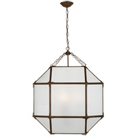 Visual Comfort SK5010AZ-FG Suzanne Kasler Morris 3 Light 23 inch Antique Zinc Foyer Pendant Ceiling Light in Frosted Glass