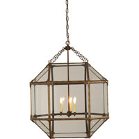 Suzanne Kasler Morris 3 Light 23 inch Gilded Iron with Wax Foyer Pendant Ceiling Light in Clear Glass