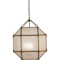 Visual Comfort SK5010GI-FG Suzanne Kasler Morris 3 Light 23 inch Gilded Iron with Wax Foyer Pendant Ceiling Light in Frosted Glass