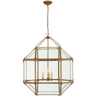 Visual Comfort SK5010GI-CG Suzanne Kasler Morris 3 Light 23 inch Gilded Iron with Wax Foyer Pendant Ceiling Light in Clear Glass