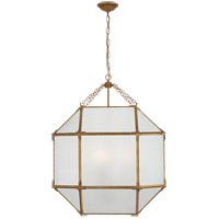 Visual Comfort SK5010GI-FG Suzanne Kasler Morris 3 Light 23 inch Gilded Iron Foyer Pendant Ceiling Light in Frosted Glass