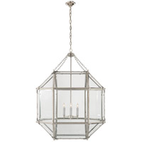 Visual Comfort SK5010PN-CG Suzanne Kasler Morris 3 Light 23 inch Polished Nickel Foyer Pendant Ceiling Light in Clear Glass photo thumbnail