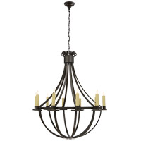 Visual Comfort Suzanne Kasler Seymor 10 Light Chandelier in Aged Iron with Wax SK5012AI