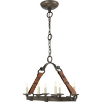 Visual Comfort Suzanne Kasler Dressage 6 Light Chandelier in Aged Iron with Wax SK5015AI