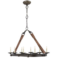Visual Comfort Suzanne Kasler Dressage 8 Light Chandelier in Aged Iron with Wax SK5016AI