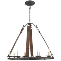 Visual Comfort Suzanne Kasler Dressage 8 Light Chandelier in Aged Iron with Wax SK5019AI