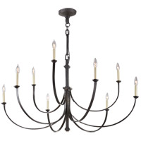 Visual Comfort Suzanne Kasler Reims 9 Light 49-inch Chandelier in Aged Iron, Large SK5022AI
