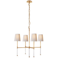 Suzanne Kasler Camille 4 Light 27 inch Hand-Rubbed Antique Brass Chandelier Ceiling Light, Suzanne Kasler, Small, Natural Paper Shade