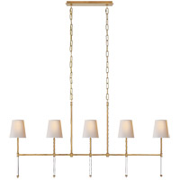 Suzanne Kasler Camille 5 Light 53 inch Hand-Rubbed Antique Brass Linear Chandelier Ceiling Light, Medium