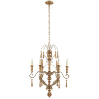 Suzanne Kasler Katherine 6 Light 25 inch French Antique and Gold Leaf Chandelier Ceiling Light, Suzanne Kasler, Medium