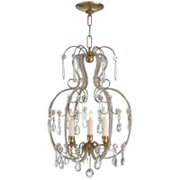 Visual Comfort Suzanne Kasler Hurley 3 Light Chandelier in Hand-Rubbed Antique Brass SK5100HAB