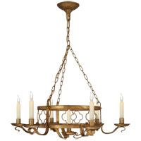 Visual Comfort Suzanne Kasler Margarite 7 Light Chandelier in Gilded Iron with Wax (Shades Sold Separately) SK5102GI