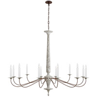 Visual Comfort SK5350SWH/NR Suzanne Kasler Bordeaux 12 Light 60 inch Swedish White and Natural Rust Chandelier Ceiling Light, Grande