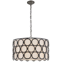Visual Comfort SK5536AI-L Suzanne Kasler Alexandra 4 Light 25 inch Aged Iron Pendant Ceiling Light, Suzanne Kasler, Medium, Linen Shade