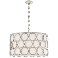 Suzanne Kasler Alexandra 4 Light 25 inch Burnished Silver Leaf Pendant Ceiling Light, Suzanne Kasler, Medium, Linen Shade