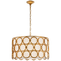 Visual Comfort Suzanne Kasler Alexandra 4 Light 25-inch Pendant in Gilded Iron, Medium, Linen Shade SK5536GI-L