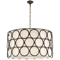 Visual Comfort Suzanne Kasler Alexandra 4 Light 37-inch Pendant in Aged Iron, Large, Linen Shade SK5537AI-L
