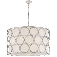 Visual Comfort Suzanne Kasler Alexandra 4 Light 37-inch Pendant in Burnished Silver Leaf, Large, Linen Shade SK5537BSL-L