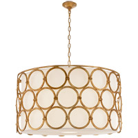 Visual Comfort Suzanne Kasler Alexandra 4 Light 37-inch Pendant in Gilded Iron, Large, Linen Shade SK5537GI-L
