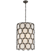 Visual Comfort Suzanne Kasler Alexandra 2 Light 19-inch Pendant in Aged Iron, Narrow, Linen Shade SK5538AI-L