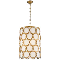Visual Comfort Suzanne Kasler Alexandra 2 Light 19-inch Pendant in Gilded Iron, Narrow, Linen Shade SK5538GI-L