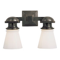 Visual Comfort E.F. Chapman New York Subway 2 Light Bath Wall Light in Bronze with Wax SL2152BZ-WG