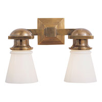 Visual Comfort E.F. Chapman New York Subway 2 Light Bath Wall Light in Hand-Rubbed Antique Brass SL2152HAB-WG