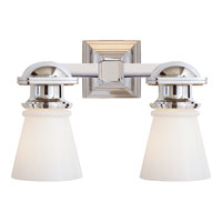 Visual Comfort E.F. Chapman New York Subway 2 Light Bath Wall Light in Polished Nickel SL2152PN-WG