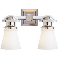 Visual Comfort SL2152PN-WG E. F. Chapman New York Subway 2 Light 14 inch Polished Nickel Bath Wall Light