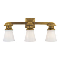 E.F. Chapman New York Subway 3 Light 23 inch Hand-Rubbed Antique Brass Bath Wall Light