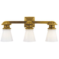 E. F. Chapman New York Subway 3 Light 23 inch Hand-Rubbed Antique Brass Bath Wall Light