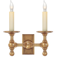 Visual Comfort E.F. Chapman 2 Light Decorative Wall Light in Hand-Rubbed Antique Brass SL2814HAB