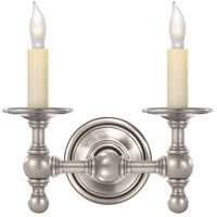 Visual Comfort E.F. Chapman Classic 2 Light Decorative Wall Light in Antique Nickel SL2816AN