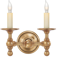 Visual Comfort E.F. Chapman Classic 2 Light Decorative Wall Light in Hand-Rubbed Antique Brass SL2816HAB