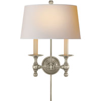 Visual Comfort E.F. Chapman Classic 2 Light Decorative Wall Light in Antique Nickel SL2817AN-NP