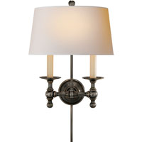 Visual Comfort E.F. Chapman Classic 2 Light Decorative Wall Light in Bronze with Wax SL2817BZ-NP