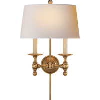Visual Comfort E.F. Chapman Classic 2 Light Decorative Wall Light in Hand-Rubbed Antique Brass SL2817HAB-NP
