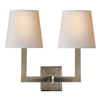E. F. Chapman Square Tube 2 Light 15 inch Antique Nickel Decorative Wall Light in Natural Paper