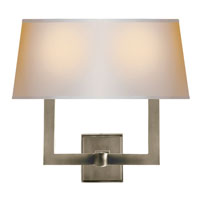 Visual Comfort SL2820AN-NP2 E. F. Chapman Square Tube 2 Light 16 inch Antique Nickel Decorative Wall Light in Long Natural Paper