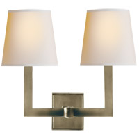Visual Comfort SL2820AN-NP E. F. Chapman Square Tube 2 Light 15 inch Antique Nickel Decorative Wall Light in Natural Paper