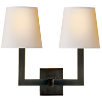 Visual Comfort SL2820BZ-NP E. F. Chapman Square Tube 2 Light 15 inch Bronze Decorative Wall Light in Natural Paper