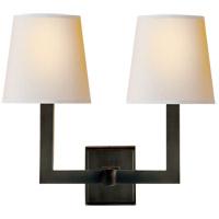 Visual Comfort SL2820BZ-NP E. F. Chapman Square Tube 2 Light 15 inch Bronze Decorative Wall Light in Natural Paper