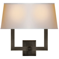 Visual Comfort SL2820BZ-NP2 E. F. Chapman Square Tube 2 Light 16 inch Bronze Decorative Wall Light in Long Natural Paper