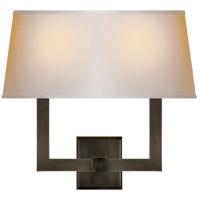 Visual Comfort SL2820BZ-NP2 E. F. Chapman Square Tube 2 Light 16 inch Bronze Decorative Wall Light in Long Natural Paper