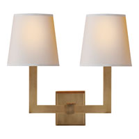 E. F. Chapman Square Tube 2 Light 15 inch Hand-Rubbed Antique Brass Decorative Wall Light in Natural Paper
