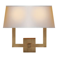 Visual Comfort SL2820HAB-NP2 E. F. Chapman Square Tube 2 Light 16 inch Hand-Rubbed Antique Brass Decorative Wall Light in Long Natural Paper