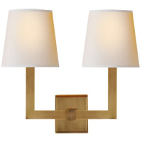 Visual Comfort SL2820HAB-NP E. F. Chapman Square Tube 2 Light 15 inch Hand-Rubbed Antique Brass Decorative Wall Light in Natural Paper